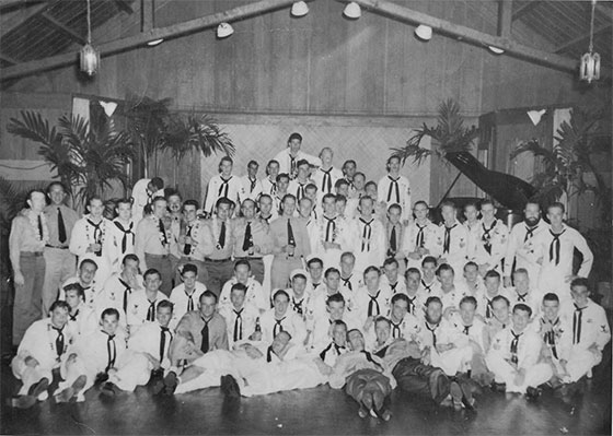 The crew of the <em>SS Albacore</em> at a farewell party before their final and fatal patrol.