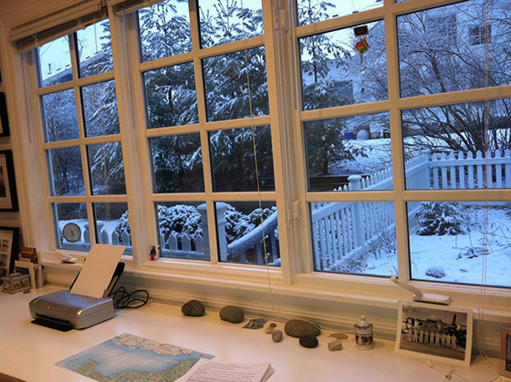 Desk in snow